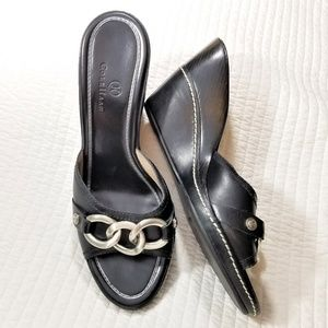 Cole Haan black leather wedge sandals 9 B
